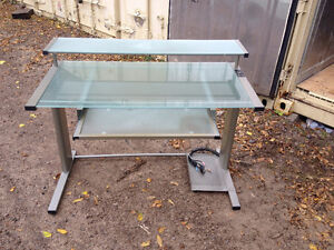 Glass desk with pull out keyboard tray