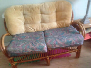Rattan Love Seat and 2 Swivel single chairs
