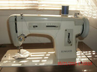 Singer Sewing machine with console and storage bench