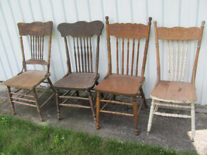 4 TALL ANTIQUE PRESS BACK CHAIRS