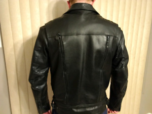 Men's small , Black leather jacket. 75.00
