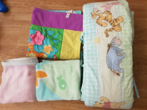 Crib bumper pad. Tummy time play mat and two blankets