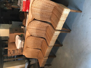 4 Woven Banana Leaf Dining Room Chairs