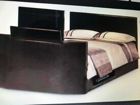 Kingsize brown leather tv bed with tv and mattress
