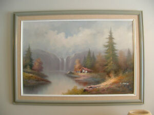 CABIN BY THE WATERFALL oil painting