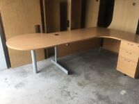Beech managers table with workstation and desk high pedestal drawers