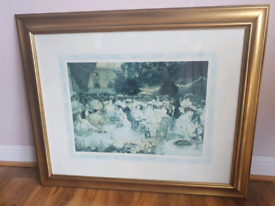 Large picture with wooden Gold frame