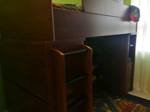 Twin Loft bed with desk and desser  (sold ppu)