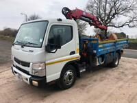 2013 Mitsubishi Canter 7c15 Thompson steel tipper HMF 535 crane and grab