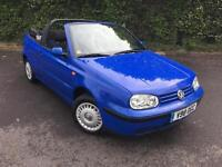 VOLKSWAGEN GOLF CABRIOLET LEFT HAND DRIVE BLUE 3 DOOR PETROL MANUAL 1999