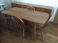 Ercol plank table and 4 Windsor chairs. Great vintage original blue labels