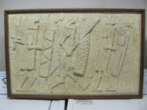 """Mid Century Relief Sculpture Medieval Fighters 39"""" x 25"""""""