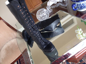 Riding Boots all leather lace up size 42 or 10 ish