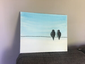 Birds on Wire Painting
