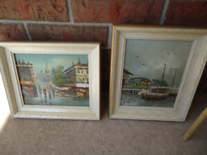 PAIR OF NAUTICAL OIL PAINTINGS ON CANVAS - $15 EACH