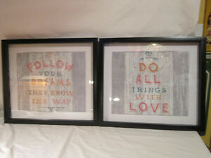 Set of 2 - Glass Fronted Frames - Pictures with Sayings