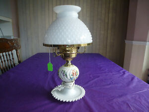 ANTIQUE MILK GLASS LAMP WITH HOBNAIL SHADE 16""