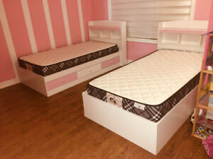 REDUCED From $749 to $575 Two Girls Twin Beds with Drawers