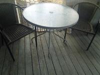 Table bistro en verre trempé