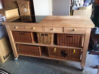 Bespoke Solid Wood Mobile Cooking Station With Built In Electric Hob