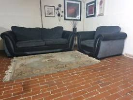 Dfs shannon 3+1 seater black & grey sofa's