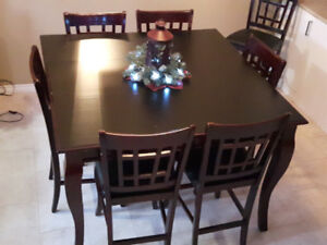 9 PIECE DINING ROOM TABLE WITH PUB STYLE CHAIRS