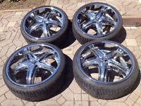 4 Crome Wheels with Continantal tires