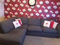 Grey fabric corner sofa