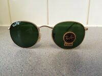 Ray Ban Round Metal Sunglasses RB3447 (gold frame/dark green lens)