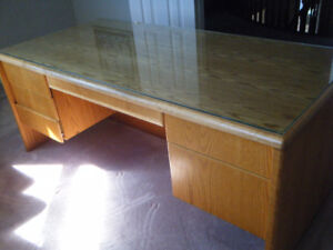 Custom Made Solid Oak Desk with Glass Top