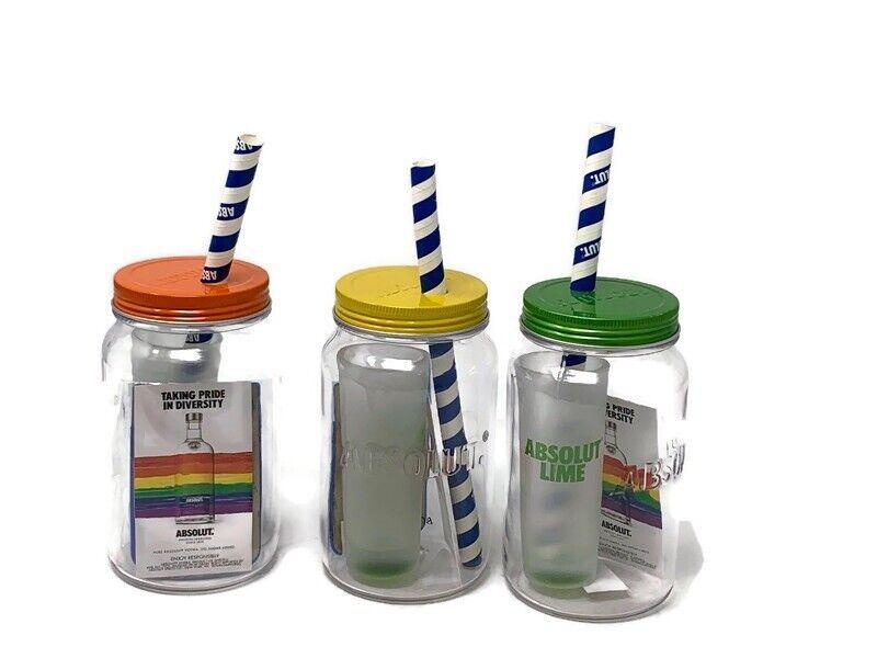 Absolut Vodka Cup Jar Set Limited Edition Pride Diversity Barware Rainbow
