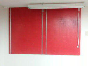 PEG BOARD, red, on a mounted frame