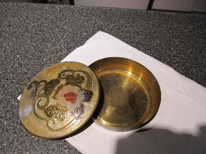 Brass art. Enameled brass decorative dish with cover.