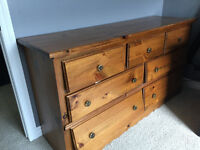 Pine Armoire and Dresser