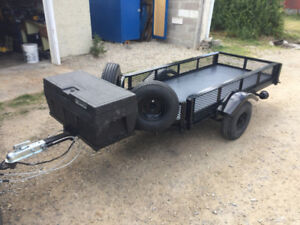 Custom single motorcycle trailer with built in ramps and storage