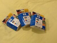 3 HP49 Colour Inkjet Printer Cartridges - new and in original sealed boxes