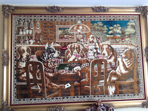 "Dogs Playing Poker Picture 78""w X 55""h Custom Frame"
