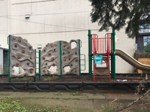 Commercial Playground Set with 3 climbing walls and slide