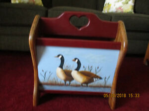 HAND PAINTED MAGAZINE RACK FOR SALE