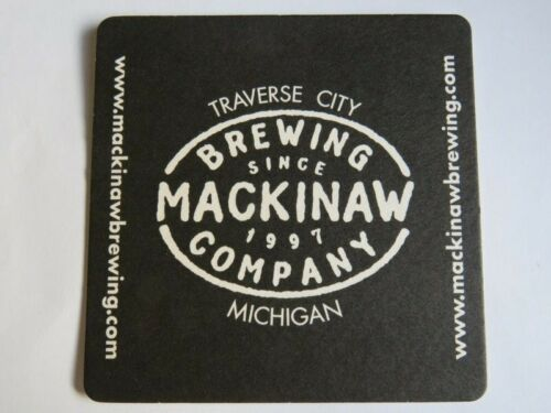 Beer Bar Coaster ~ MACKINAW Brewing Co ~ Brewery Since 1997 ~ Traverse City, MI