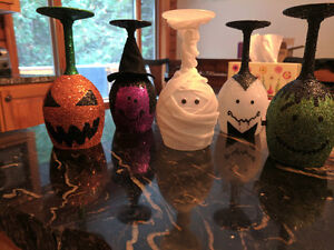 Halloween Themed Wine Glass Candle Holders