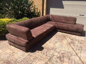 7 Seater Brown Suede Sofa / Couch + Chaise Modular - THE QUEBEC Brighton Bayside Area Preview