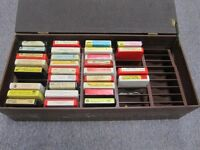 Lot of 30 stereo 8 track tapes, vintage with box