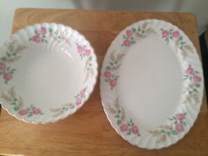 Ironstone Snowhite Regency Salad Bowl with Platter