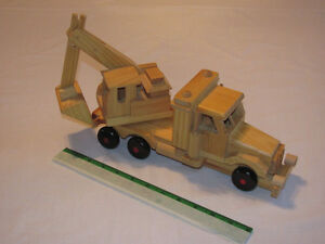 Reduced - Hand-crafted Wooden model of Backhoe on Truck Edmonton Edmonton Area image 1