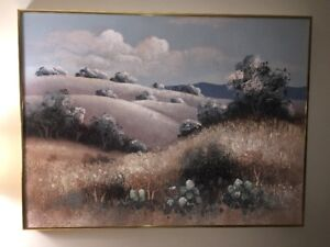 Vintage 1970s Signed Original Abstract Landscape Painting E. Lee