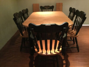 Kitchen table, six chairs - solid birch wood