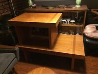 Mid Century Teak Block Coffee Table & Side Table by RS Associate