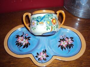 Antique lustreware luncheon plate/sugarpot for makeup jewellery
