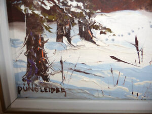 "Listed Artist,Heinz V. Pundleider ""Cross Country Trail"" Oil 1978 Stratford Kitchener Area image 4"